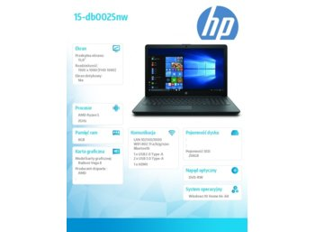 HP Inc. Notebook 15-db0025nw R5-2500U 256/8G/W10H/15,6/VEGA 8 5KU49E