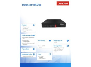 Lenovo Desktop ThinkCentre M720q Tiny 10T70046PB W10Pro i3-8100T/8GB/256GB/INT/3YRS OS