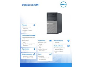 Dell Optiplex 7020MT Win7/8.1 (64-bit, Win8, nosnik) i7-4790/500GB/8GB/DVDRW/HD4600/KB212-B/MS111/3Y NBD