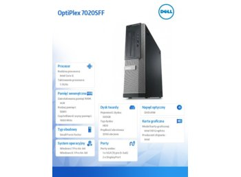 Dell OptiPlex 7020SFF Win78.1 (64-bit Win8, nosnik) i5-4590/500GB/4GB/8xSlimline DVD+/-RW/Office 2013 Trial/Integrated HD4600/KB212-B/MS111/3Y NBD