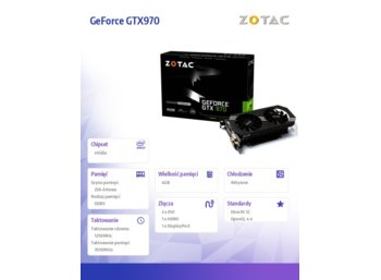 ZOTAC GeForce CUDA GTX970 4GB DDR5 256BIT  DVI/HDMI/DP PP BOX