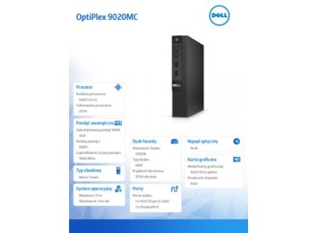 Dell OptiPlex 9020MC Win78.1(64-bit Win8, nosnik) i5-4590T/500GB/4GB/HD4600/KB212-B/MS111/3Y NBD