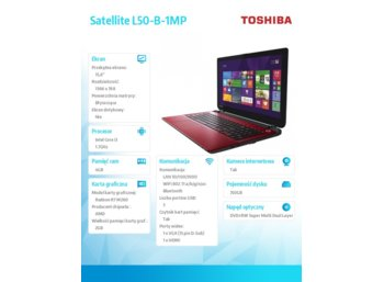 Toshiba Satellite L50-B-1MP Win8.1 i3-4005U/750GB/4GB/R7 M260 2GB/DVD/15.6