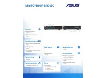Asus Mini PC PB60V-B5104ZC w10P i5-9500T/8/256/Integ/USB