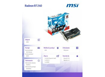 MSI Radeon R7 240  2GB DDR3 PCI-E 128BIT DVI/HDMI/Dsub BOX